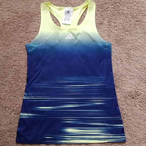 Adidas Youth Fitness Tank Top Blue Yellow